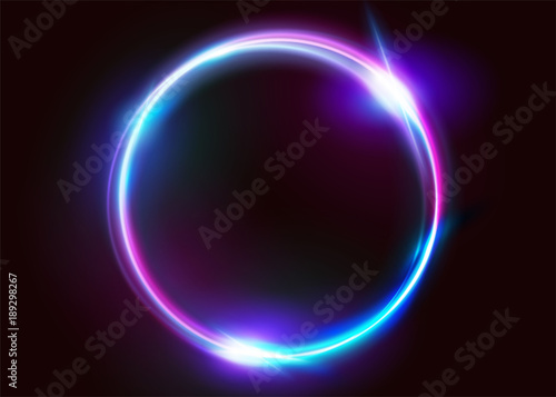 Vector Vibrant Neon Circle with Glow. Modern Round Frame with Empty Space for Text. Abstract Bright Neon Loop with Transparency. Colorful Shine, Flare. Illustration for Advertising, Banner, Card.