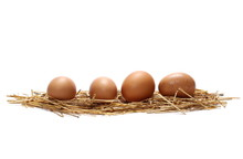 Eggs In Straw Nest Isolated On...