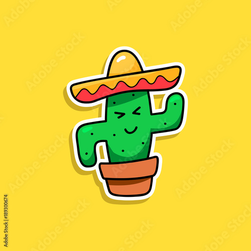 Cactus cartoon vector isolated sticker, patch badge, pin