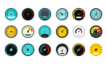 Dash Board Icon Set, Flat Style
