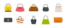 Woman Bag Icon Set, Flat Style