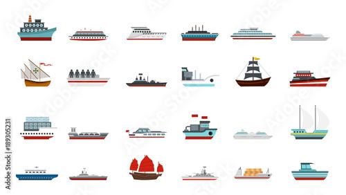 Fotografía  Ship icon set, flat style