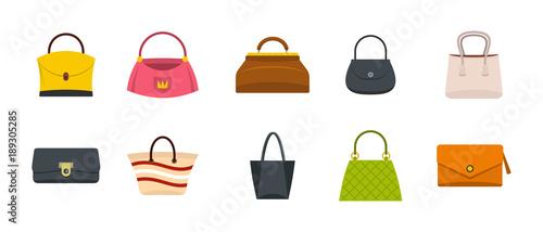 Fotografering Woman bag icon set, flat style