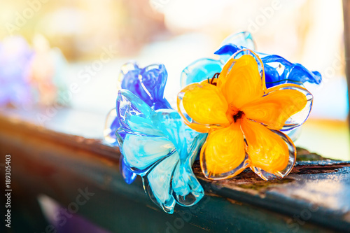 Traditional flower glass decorations in Murano island near Venice, Italy.