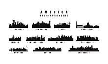 America Big City Skyline Silhouette Vector, USA City Skyline Silhouette Set Vector