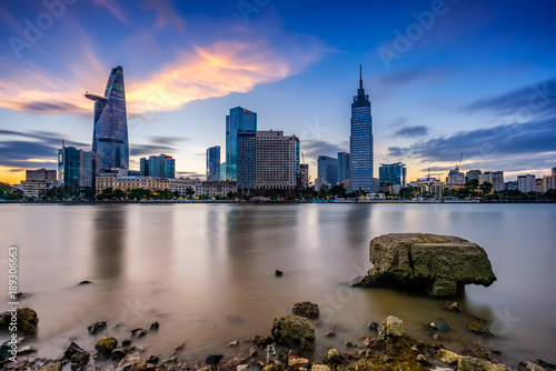 HOCHIMINH CITY- VIETNAM: the cityscapes and Saigon river on sunset in Hochiminh city, Vietnam.