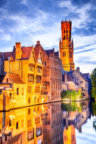 In de dag Brugge Belfry, Bruges, Belgium
