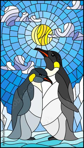 Fototapeta premium Ilustracja w stylu witrażu z parą pingwinów na tle śniegu, słońca i chmur
