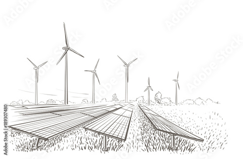 Fotografia  Alternative sources of energy(wind, solar) hand drawn sketch
