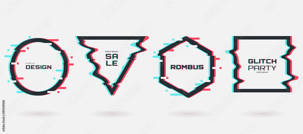 Fototapety, obrazy: Vector glitch frames set. Geometric shapes with Tv distortion effect. Circle, triangle, rhombus and square with vhs glitch effect. Applicable for banner design,invitation, party flyer etc.