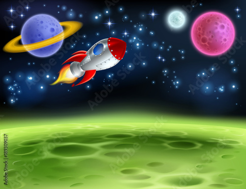 Foto op Canvas Kosmos Outer Space Planet Cartoon Background