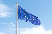 European Union Flag On Blue Sk...