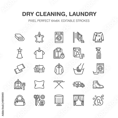Dry Cleaning Laundry Flat Line Icons Launderette Service Equipment