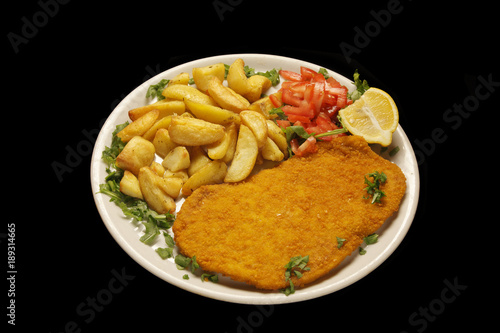 cotoletta alla milanese, fried chicken with french fries Wallpaper Mural