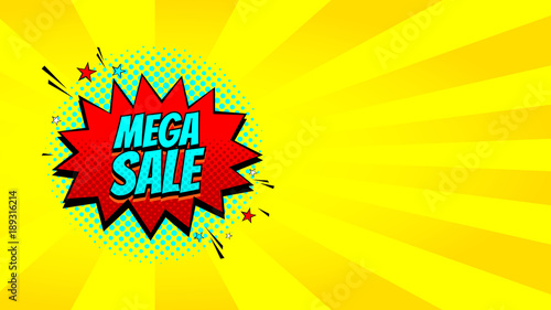 pop art mega sale discount promo banner decorative yellow
