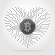 Bitcoin currency chip. Vector illustration