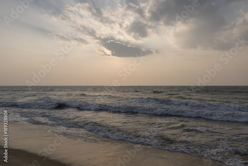 Scenic view of ocean at sunset