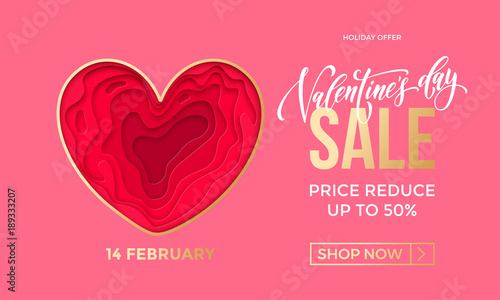 37af9cc3f4ee2 Valentines Day sale banner design template of heart papercard on ...