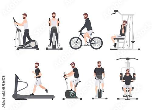 Foto op Plexiglas Fitness Bearded man dressed in sports clothes doing fitness training on exercise machines at gym. Male cartoon character during power and weight loss workout. Front and side views. Flat vector illustration.