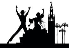 Silhouette Of Spanish Flamenco...