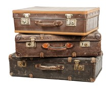 Old Suitcases Isolated On Whit...
