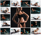 The collage from images of beautiful slim woman doing some gymnastics at the gym