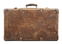Old Suitcase Isolated On White...