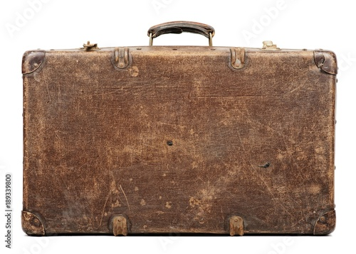 Canvastavla Old suitcase isolated on white background