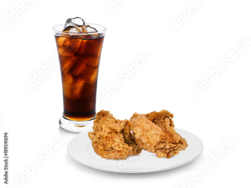 crispy kentucky fried chicken in the white plate with fresh coke isolated on white background