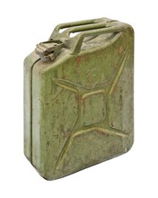 Old Jerry Can Isolated On Whit...