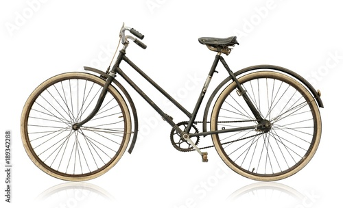 Türaufkleber Fahrrad Old women's bike isolated on white background.
