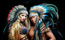 Man And Woman Wearing Native A...