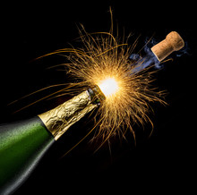 Champagne Bottle With Sparkler...