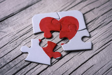 Puzzle Pieces Which Form A Heart