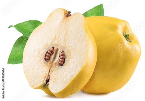 Apple-quince with leaf. File contains clipping path.
