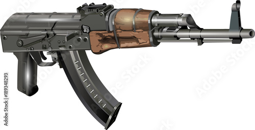 Photo Kalashnikov AK 47 without stock Vector Illustration isolated on white background