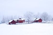 Farm Barn In A Cold Winter Lan...