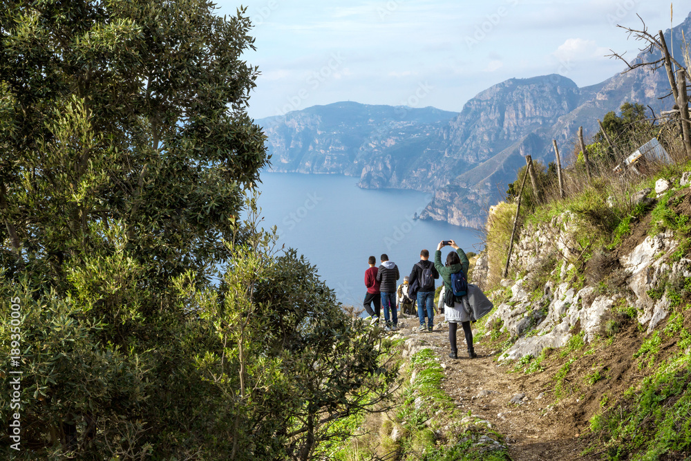 Fototapety, obrazy: Sentiero degli Dei (Italy) - Trekking route from Agerola to Nocelle in Amalfi coast, called