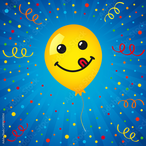 Smiling Of Yellow Balloon And Colored Confetti On Blue Background Vector Emoticon Emoji Flat Smile In The Helium For Greeting Card