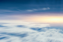 Moving Cloud Sky View From Aircraft For Going Future And Forward Concept Background
