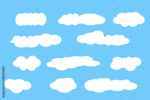 Foto op Plexiglas Hemel Cloud vector icon set white color on blue background. Sky flat illustration collection for web, art and app design. Different cloudscape weather symbols
