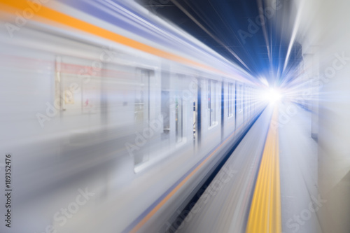 blur hi speed subway underground train fast business transport concept