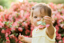 Little Girl Holding Out Pink Flower