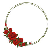 Wreath With Red Rose. Floral D...
