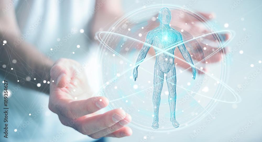 Fototapeta Businessman using digital x-ray human body scan interface 3D rendering