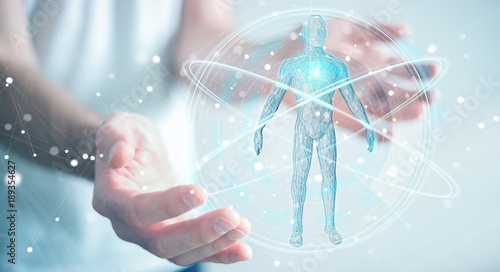 Businessman using digital x-ray human body scan interface 3D rendering