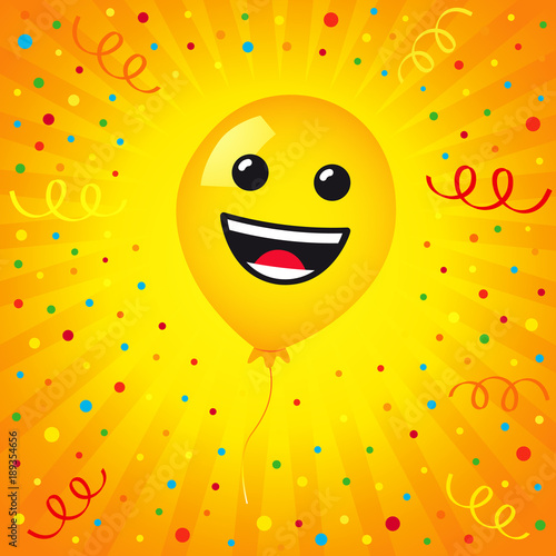 Colored Confetti On Yellow Stripes Background Vector Emoticon Emoji Flat Smile In The Helium Balloon For Greeting Card And Birthday See More