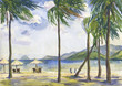 Beach with palm trees. seascape. Vietnam. Watercolor painting