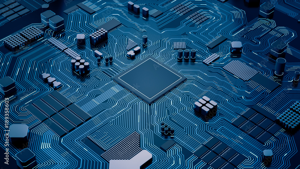 Fototapeta CPU chip on Motherboard - abstract 3D render of a processor computer chip on a cicuit board with microchips and other computer parts