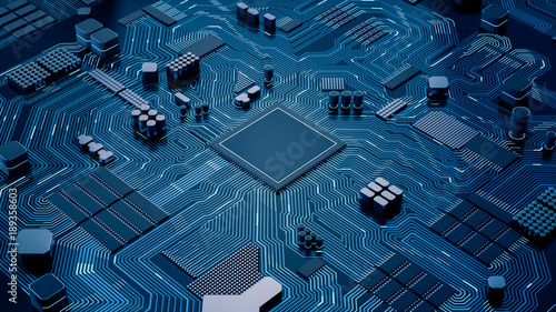 Fotomural  CPU chip on Motherboard - abstract 3D render of a processor computer chip on a c